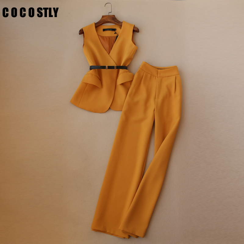 Set Female Autumn Pant Suits Women OL Temperament V-neck Vest + High Waist Straight Wide Leg Pants Elegant Two-piece Women Suits