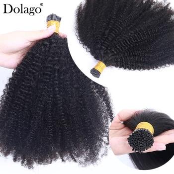 Afro perwersyjne kręcone ludzkie włosy 4B 4C I końcówki Microlinks brazylijski Virgin przedłużanie włosów włosy luzem czarny kolor dla kobiet 3S Salon