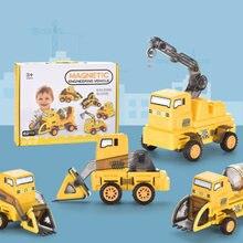 62 шт в наборе магнитные блоки грузовик строительная техника