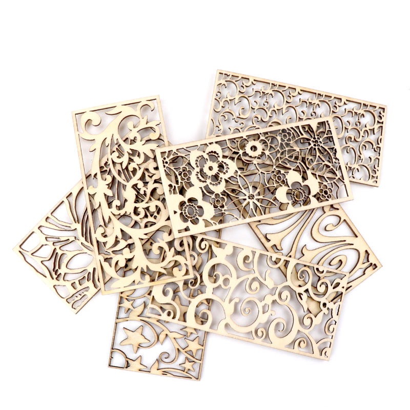 Chinese Style Retro Frame Lace Pattern Wooden Scrapbooking Sewing Home Decoration Craft Handmade Accessory 5pcs 9.9x4.8cm MZ408