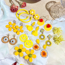 Summer yellow earrings 2019 new fashion fresh temperament exaggerated long Internet celebrity