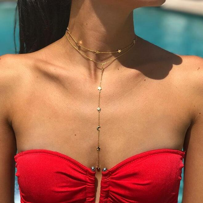2020 choker star necklace minimal plain star charm gold filled 100% 925 sterling silver chain choker delicate necklaces for girl