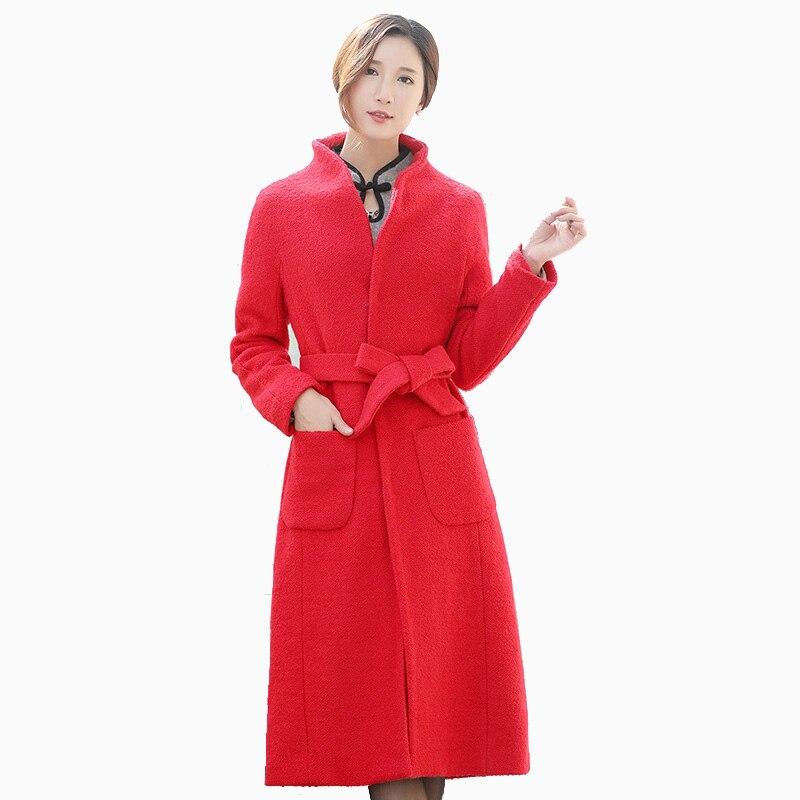 Nouvelle mode longues vestes rouge manteau de haute qualité grande taille femmes cachemire manteau avec ceinture femme pardessus femme décontracté manteau de laine