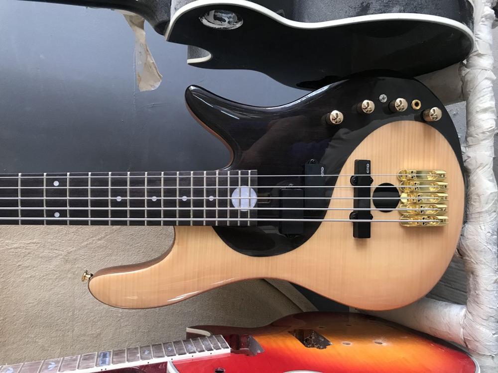 free shipping low price bass wholesale Foderaa Active 5 string bass gold hardware bass guitar yinyang bass