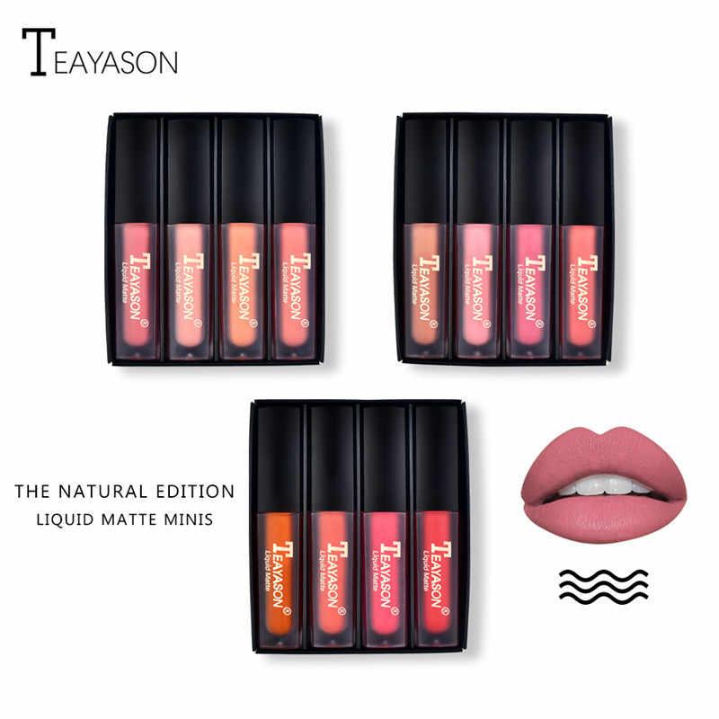Matte Lip Gloss Set 4 Colori Moisturer Rossetto Liquido Impermeabile Donne Costmetics Nude Labbra Batom di Lunga Durata Lip Tint