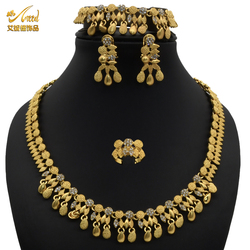 ANID 48 2021 tendy gold color luxury stainless steel african 18 carat pure jewelry sets wedding 1 gram imitation jewelry set