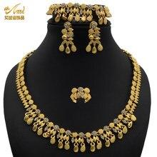 Anid 48 2021 tendy cor do ouro luxo aço inoxidável africano 18 quilates conjuntos de jóias pura casamento 1 grama conjunto de jóias imitação