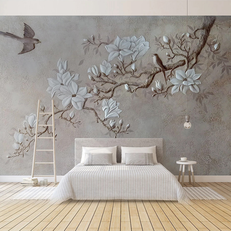 Custom Any Size Photo Wallpaper Modern Pastoral 3D Embossed Flowers Birds Mural Wall Paper Living Room Bedroom Papel De Parede