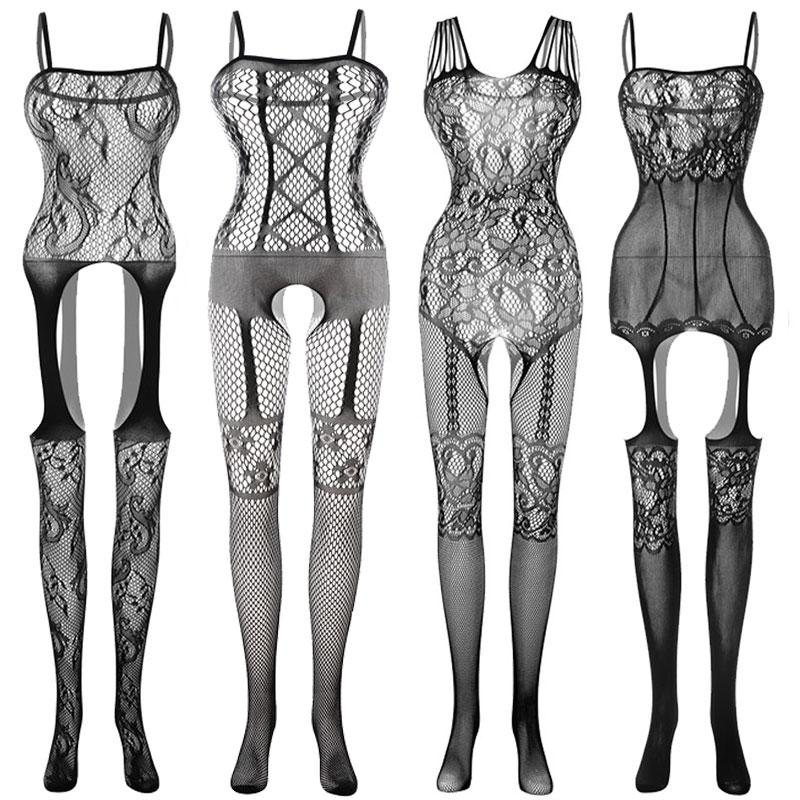Сексуальные костюмы, боди-костюм, чулки, сексуальное эротическое нижнее белье с открытой промежностью