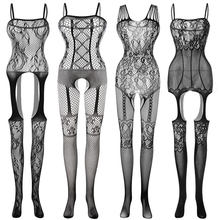 Sexy Costumes Body Suit Body Stockings Sex Erotic Open Crotch Teddy Lingerie Crotchless Baby Doll Feminino Porno(China)