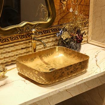 Golden Venus Snowflake Art powyżej umywalka nablatowa europejska umywalka ceramiczna prostokątna umywalka główna powyżej umywalka nablatowa tanie i dobre opinie BEZ OTWORU NONE Prostokątne CN (pochodzenie) drainer+drain pipe LXL0717F Zlewozmywaki blatowe Zlewy na szampon 51 5*40*12 5cm