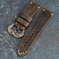 Ремешок ручной работы из кожи Крейзи Хорс 20 22 24 26 мм коричневый ремешок из телячьей кожи с бронзовой пряжкой для PAM111 441