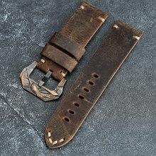 Handgemachte Crazy Horse leder Armband 20 22 24 26MM Braun Kalbsleder Strap Mit Bronze Schnalle Für PAM111 441