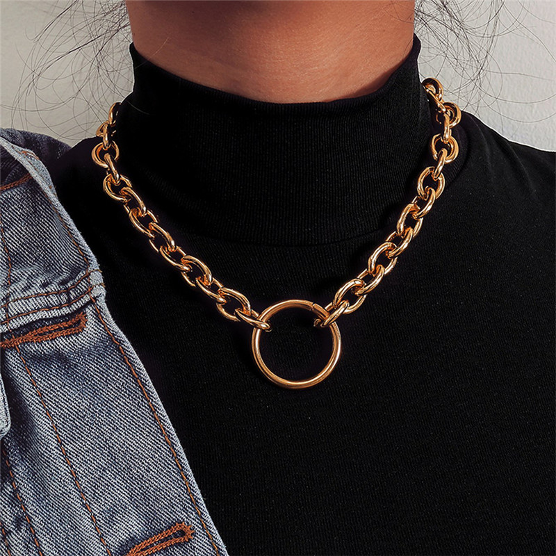 Big Circle Pendants Necklace for Women Hollow Link Gold Color Punk Personality Necklaces for Ladies Fashion Jewelry