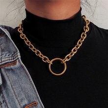 Grande círculo pingentes colar para as mulheres oco link cor de ouro punk personalidade colares para senhoras moda jóias