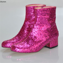 Ankle-Boots Glitter Party-Shoes Low-Heels Us-Size Women Fuchsia Olomm Square Toe-Gorgeous