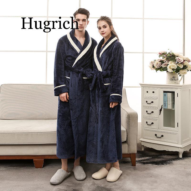 2020 Men Plus Size 3XL Flannel Kimono Bath Gown Ultra Long Large Robe Coral Fleece Nightgown Lovers Couple Thick Warm Sleepwear