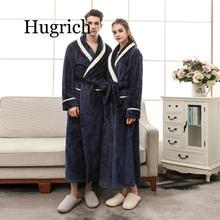 2020 Men Plus Size 3XL Flannel Kimono Bath Gown Ultra Long Large Robe Coral Fleece Nightgown Lovers Couple Thick Warm Sleepwear