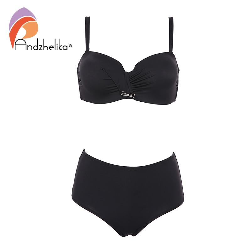 Andzhelika Sexy Bandeau Bikini Set Swimsuit Solid Push Up High waist Bikinis Two piece Beach Bathing Suit plus Size SwimwearBikini Set   -