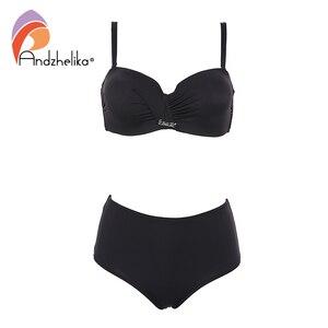 Image 1 - Andzhelika Sexy Bandeau Bikini Set Swimsuit Solid Push Up High waist Bikinis Two piece Beach Bathing Suit plus Size Swimwear