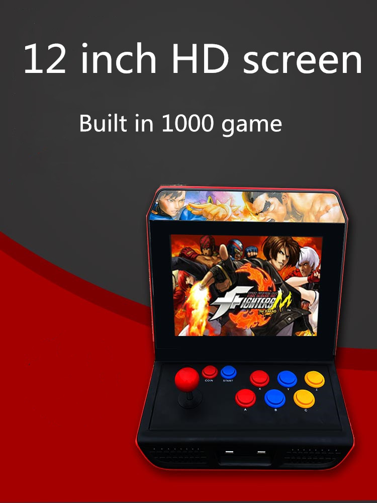 Powkiddy nuevo A10 12 pulgadas HD pantalla 4GB retro consola de juegos con balancín arcade nostálgico juego de lucha soporte TV conexión
