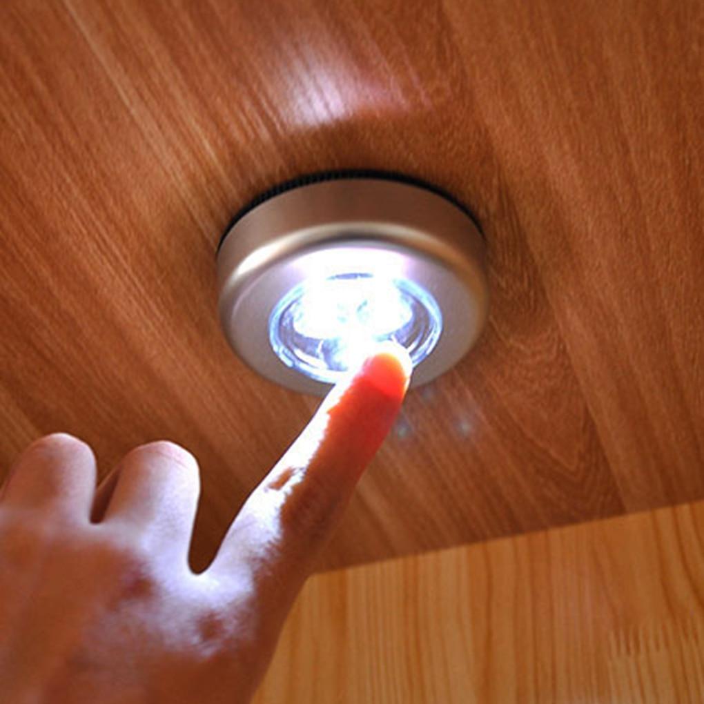 Налобный фонарь на 3 светодиодах серебро гардероб шкаф лампа Батарея приведенный в действие Беспроводной Стик Нажмите сенсорный пуш-ап без...