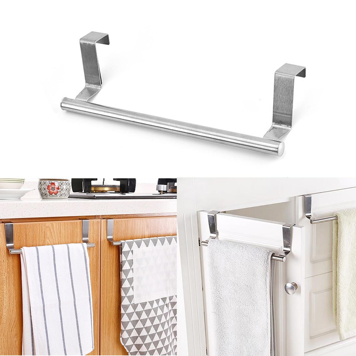 Towel Holder Over Kitchen Cabinet Door Bathroom Towels Rack Hanger Silver Space Aluminum Wall Hanging Towel BarKitche Cabinet