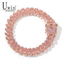 Uwin S-Link Miami 12mm Rose Gold Cuban Bracelet Pink Rhinestone Alloy Frozen Hip Hop Fashion Punk Necklace Jewelry