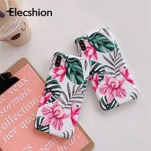 For iPhone 7 8 Plus Simple Green Leaf Phone Case iPhoneX Xs Flower Soft TPU Cover 6 6s Tropical Plants