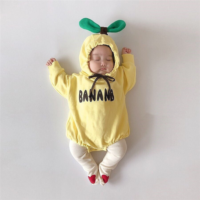 0-24M Newborn Kid Babys Girl Boy Clothes Banana Long Sleeve Hooded Romper Cotton Plain Jumpsuit Body Top Cute Outfit