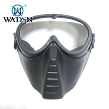 WADSN Tactical Paintball Military Archery Full Face Anti fog Aviator Len Safe Mask with Protective Goggle Sport Helmet Accessory airsoft helmet g4 system tactical pj military mesh helmet fullface kask with protective goggle face mask for war game