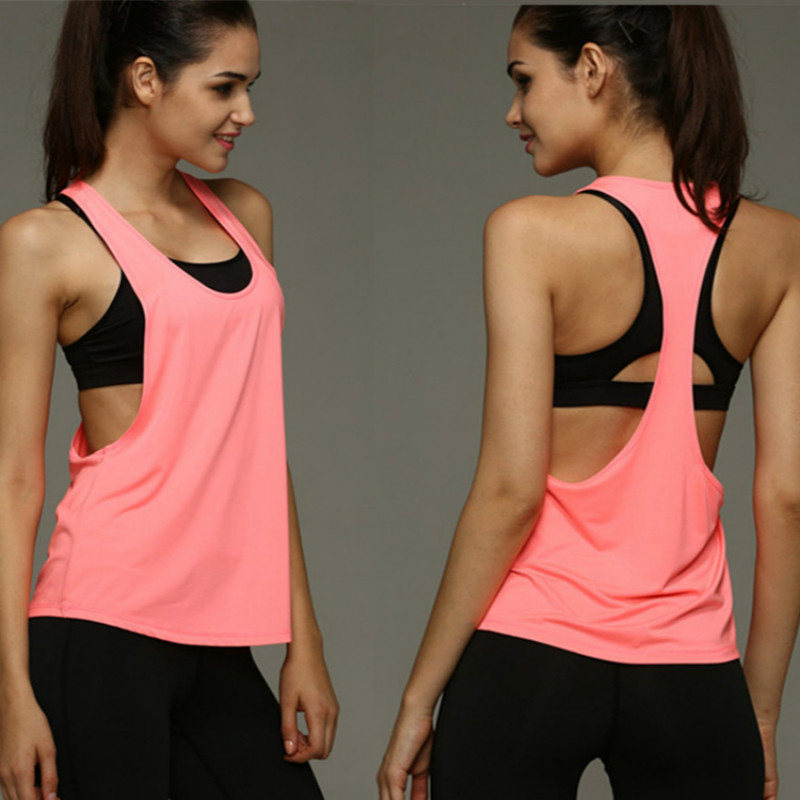 Women Sports Raceback Tank Top Loose Running Gym Fitness Workout Vest Quick Dry shirt Top Athletic Singlet forTraining in Running T Shirts from Sports Entertainment