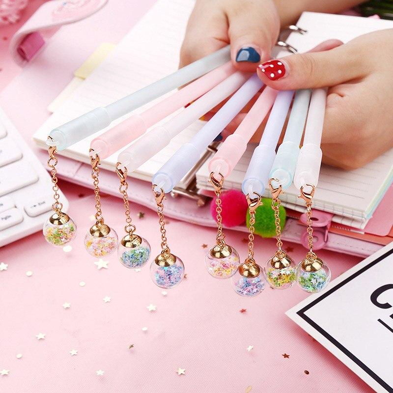 1PC Cute Star Pens Novelty Crystal Gel Pens Kawaii Pendant Pens For Children Girl Gifts School Office Supplies Korean Stationery