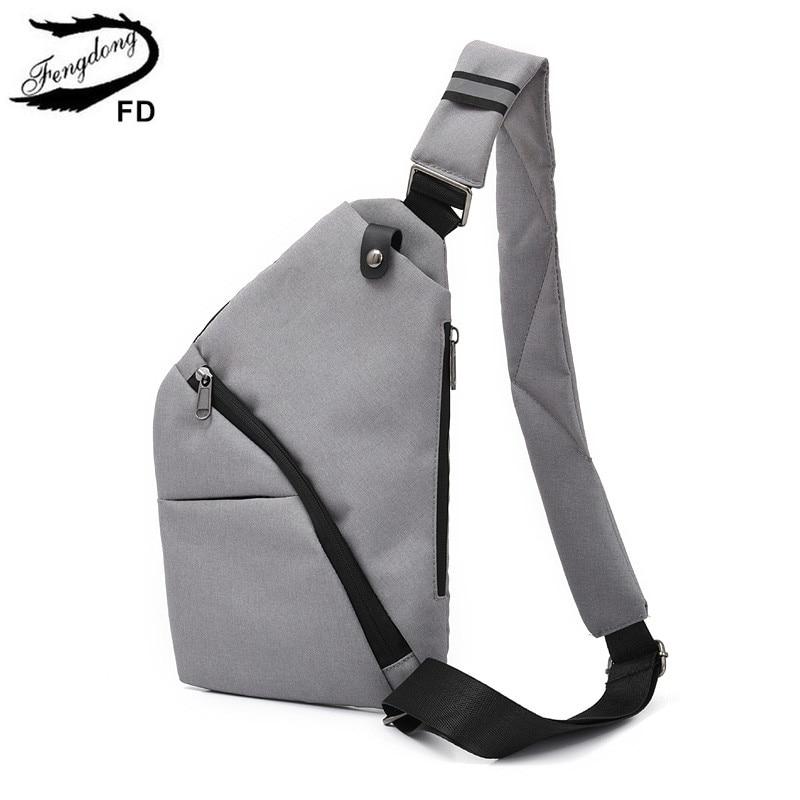 FengDong Men Anti Theft Small Crossbody Travel Bag Waterproof One Shoulder Chest Bag Pack Men Messenger Bags Backbag Wholesale