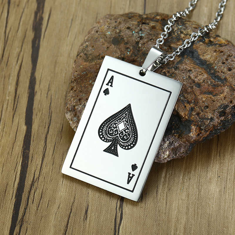 Vnox szczęście as pik mężczyzna naszyjnik srebrny Tone Poker wisiorek dla mężczyzn ze stali nierdzewnej kasyno Fortune karty do gry