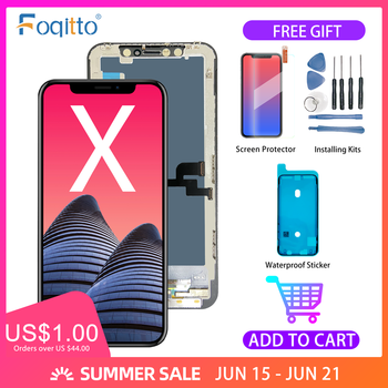 FOQITTO Grade AAA iphone X display OLED with 3D touch iphone XS XS MAX screen replacement iphone XR LCD screen display digitizer 3d printing display screen motherboard display office durable accessories exquisite