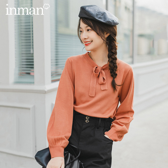 INMAN 2020 Spring New Arrival Literary Lace collar Puff Sleeve Knit Pullover Sweater
