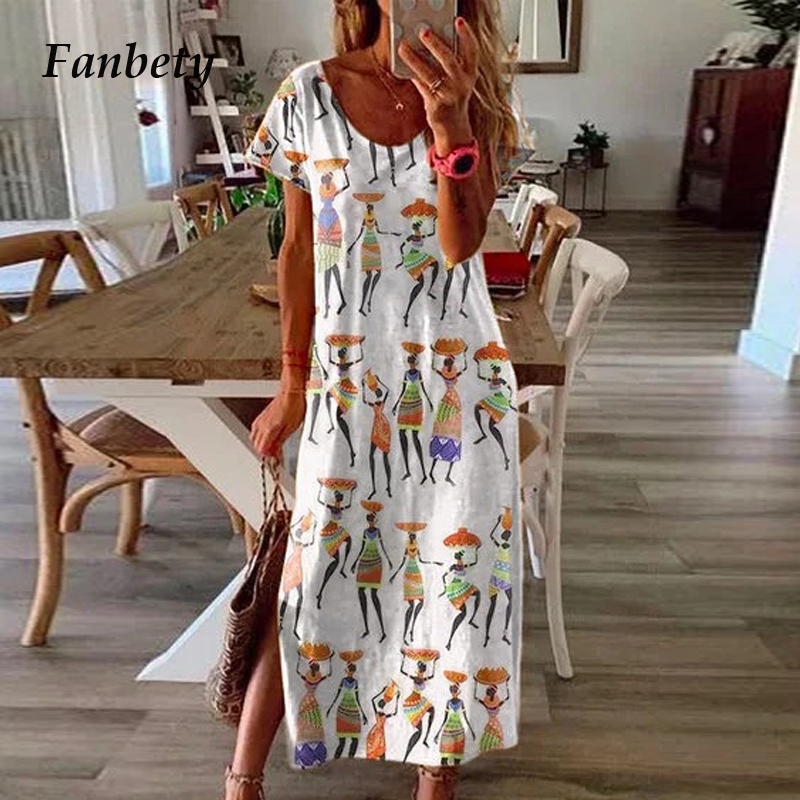 Women Elegant Short Sleeve African Ethnic Print Split Dress 2020 Summer Vintage O Neck Party Dress Lady Loose Maxi Dress Vestido