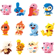 LNO Mini Building Blocks Cartoon Monsters Mudkip Lickitung Whismur Piplup Torchic Brick Model Games Toys for Collection Block lno 217pcs charizard pokemon building block