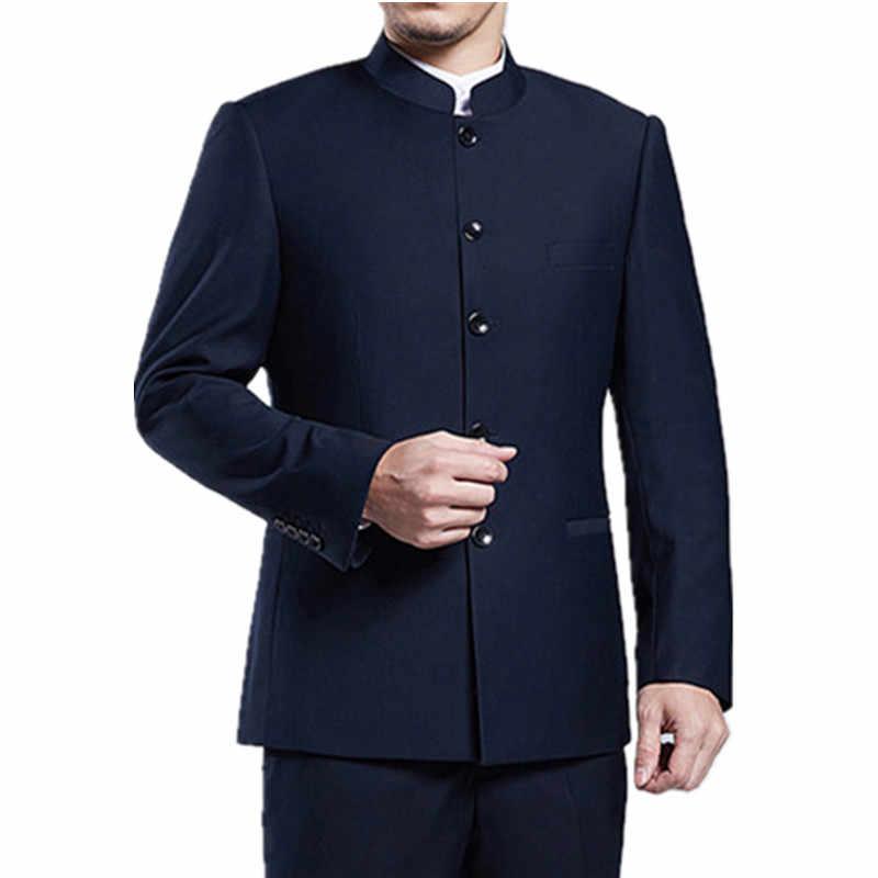 Der männer stehen kragen anzug Chinesischen stil schlank schwarz tunika 4XL XL anzug zwei-stück anzug (Blazer + hosen) business Chinesischen stil anzug