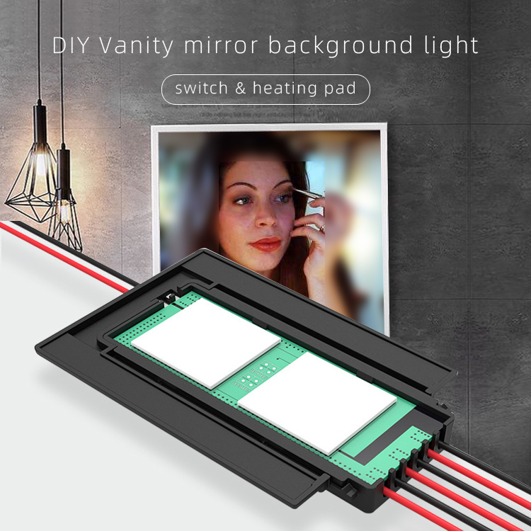 Two Button Smart Washroom Mirror Switch, With Heating Pad,30*40cm Anti-fog Film, DC12V DIY Vanity Mirror Background Light