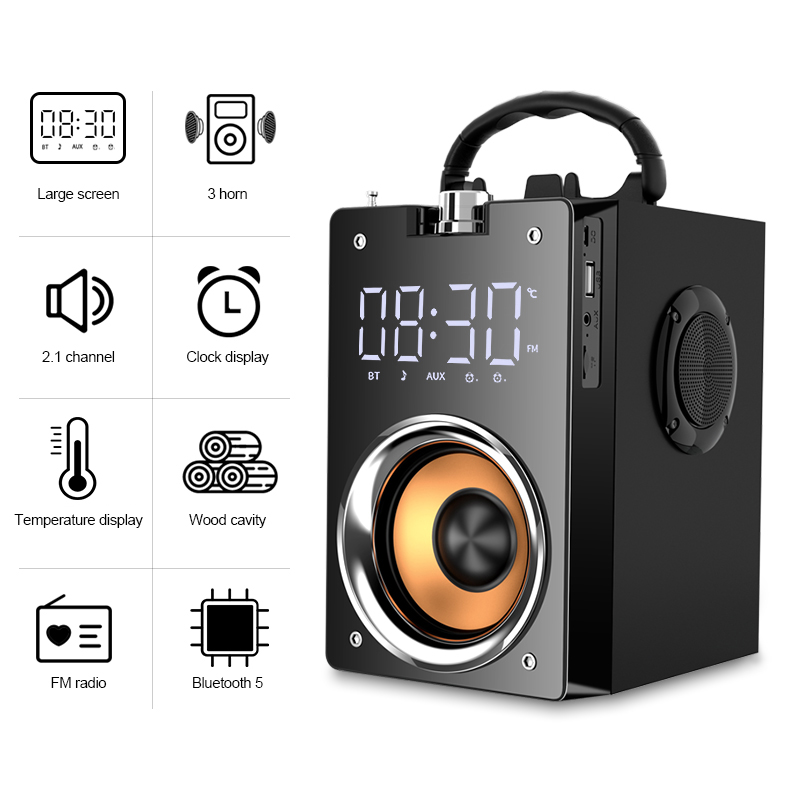 High Power Bluetooth Speaker Super Bass Subwoofer Clock Speaker Loudspeaker For PC Support Mic AUX TF card FM Radio Column Box
