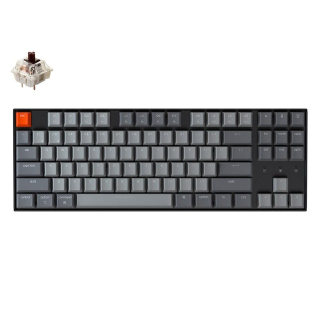 Keychron K8 A Wireless Bluetooth Mechanical Keyboard 87 Keys Gateron Switch White Backlight Keyboard for Mac Windows