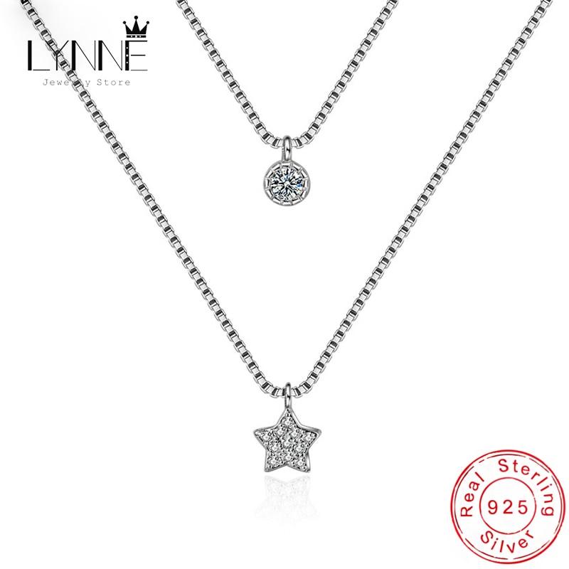 Купить женское двухслойное ожерелье из стерлингового серебра 925 пробы