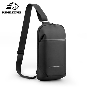 Kingsons Anti-theft Crossbody Bags Male Waterproof USB Charging Chest Pack Short Trip Messenger Sling Bag Shoulder Chest Bag rowe 2020 new shoulder bag for men waterproof usb charging male crossbody bag sling chest bag short trip messenger bags