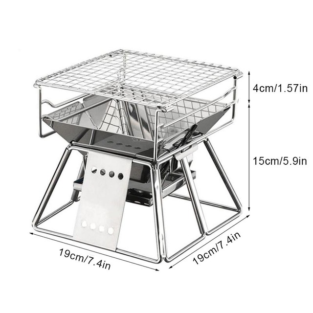 Folding Portable Stainless Steel BBQ Grill  2