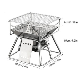Image 2 - TEENRA Portable Stainless Steel BBQ Grill Non stick Surface Folding Barbecue Grill Outdoor Camping Picnic Tool