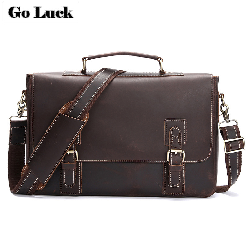 Go LUCK Brand Genuine Leather 14' Top handle Business Handbag Computer Briefcase Men's Crossbody Shoulder Bag Men Messenger Bags-in Crossbody Bags from Luggage & Bags    1
