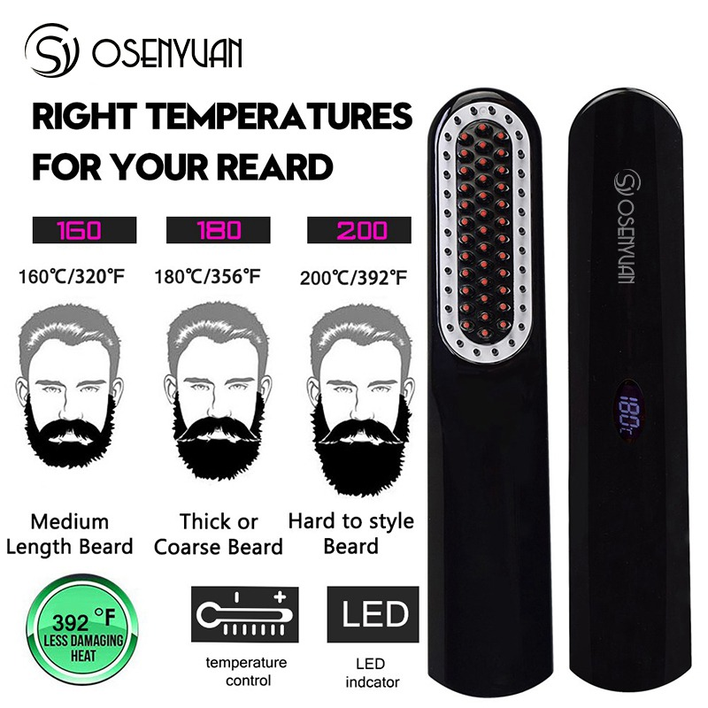 Image 5 - Wireless Men Quick Beard Straightener Styler Comb LCD Multifunctional Cordless USB Hair Straightening Brush Quick Styling Tools-in Straightening Irons from Home Appliances