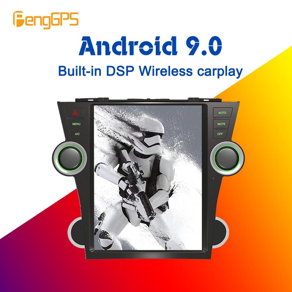 Tesla écran Android 9.0 PX6 DSP sans fil voiture lecteur de Radio multimédia pour Toyota Highlander 2007-2013 GPS Navigation